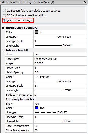 Working with sections – BricsCAD Help Center